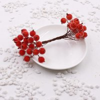 mini fruta artificial al por mayor-200pcs / 400head Mini Fake Fruit Glass Berries Artificial Cherry Bouquet Stamen Christmas Decorative Double Heads Home Wedding Decor