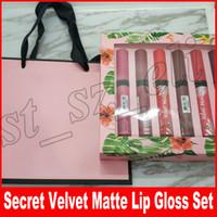 Wholesale pink paper gift bags wholesale - Secret Makeup Velvet Matte lip gloss set 12pcs set lipgloss Liquid lipstick with pink gift paper bag