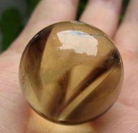 citrine band achat en gros de-Cristal de quartz de citrine fumés NATUREL sphère sphère noire fantôme