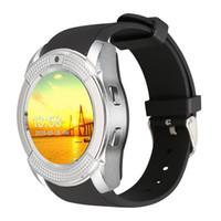 akıllı saat android senkronizasyonu toptan satış-Akıllı İzle V8 Saat Sync Notifier Destek Sim Kart Android Telefon Smartwatch Için PK DZ09 GT08 Bluetooth Bluetooth Bağlantısı