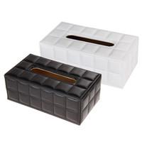caja de servilleta funda de cuero al por mayor-Sostenedor de papel durable de la servilleta de la cubierta de la caja del tejido del cuero de la PU del rectángulo del coche del hogar