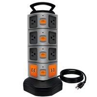 cabo da tira de força venda por atacado-Stand Power Charger Protetor Contra Surtos Tower Strip 4 Portas de Carregamento USB com 6 Pés de Cabo