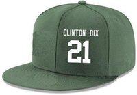 chapéus verdes feitos sob encomenda do snapback venda por atacado-Costume dos chapéus do Snapback algum número # 21 do nome de jogador Clinton Dix Green Bay chapéus Personalizado TODOS OS tampões da equipe aceitam o nome liso feito logotipo do bordado