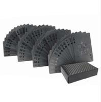 hoja de oro tarjetas al por mayor-54 unids / pack Gold Foil Poker Novedad Colección PVC Impermeable Jugando a las Cartas de Plástico Conjunto de Color Sólido Juego de Mesa Negro Nave de la Gota