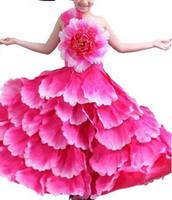 ingrosso peonia s-2018 Nuovo stile bambini Cosplay Rosa rosso Subshrubby peonia fiore eseguire abbigliamento ragazze Danza lungo paragrafo