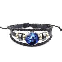 Wholesale panda bracelets for sale - Group buy Cute panda Time Gem charm bracelet Multi layer woven beaded leather bracelet styles with extend chain