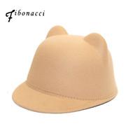 kısa ağızlı toptan satış-Fibonacci Anne kızı keçe fedora şapka çocuk yetişkin katı renk kedi kulaklar kadınlar için kısa kenarlı şapka erkekler atlı şövalye caps
