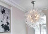 ingrosso lampade in vetro color art deco-Living Room Art Deco Risparmio energetico bianco Tiffany Stained Glass Hanging Lampade moderne lampadario