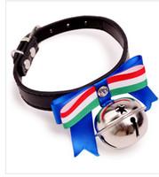 étiquettes de chien nouvelle mode achat en gros de-Gros fournitures pour animaux de compagnie nouvelle mode chien cravate noeud papillon cloche chien grand arc étoiles cloches collier.