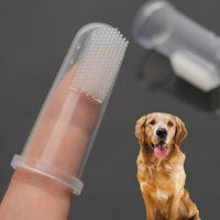 ingrosso occhiali da cucina in plastica-Prodotti per animali in lattice punte delle dita in silicone dito spazzolino da denti spazzolino orale tartaro orale pulizia dito pennello dito V 001