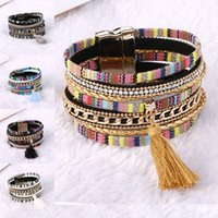 Wholesale wide bracelets wholesale - 2018 Rhinestone Feather Wide Multilayer Leather Bracelet Tassel Bracelet Women Charm Boho Bohemian Bracelets Bangle 162528