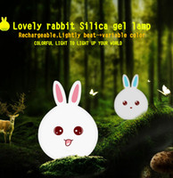 Wholesale Cute rabbit silicone lamp Color Luminaria Night Lamp Novelty LED Mini bed silicone night light USB charging remote control night light