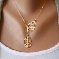 Wholesale gold metal leaf necklace - metal double leaf Necklace gold and silver single leaf designer necklace for women clavicle Chain Necklace for sale