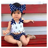 Wholesale navy blue baby bow - 2018 summer baby boutique Navy wind clothing sets girls outfits toddler kids cute tops + blue short pant +Wave point bow 3pcs cotton clothes