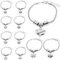 Wholesale crystal diamond beads wholesale - Diamond love Heart bracelet crystal family member bracelets Mom Daughter Grandma Believe Faith Hope best friend wristband drop ship 320067