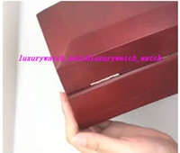Wholesale square red box watch papers - 2018 Wholesale New Outer Red Wooden Box Watch Boxes Papers Certification Papers Card Manual Translation Wallet