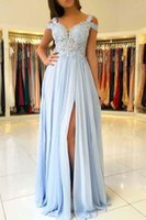 Wholesale dress evening code - Fashion Code Shoulder Evening Prom Dresses Cheap Long Lace Sequins Beaded Chiffon Side Splits Designer Floor Length Formal Gowns