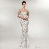 robe de soirée romantique sweetheart achat en gros de-Robe de soirée romantique au décolleté en coeur et champagne avec des paillettes blanches