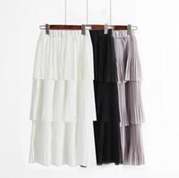jupe maxi blanche achat en gros de-2018 Printemps Été Jupes De Mousseline À Volants Femmes De Mode Blanc Noir Longue Maxi Jupe De Plage Femme Bohème Jupes Longues
