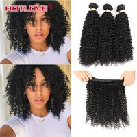 Wholesale good wavy hair weave for sale - HOTLOVE Unprocessed Indian Virgin Double Weft Human Kinky Curly Bundles Deal India Curly Wavy g Grade A Good Quality