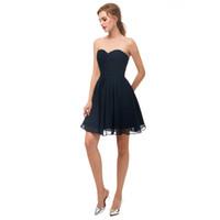 kısa zırhlı uzunluk elbisesi toptan satış-Lacivert Kısa Sevgiliye Parti Elbiseler Gerçek Görüntü Homecoming Elbise Fermuar Geri Diz Boyu 2018 Yeni Basit Küçük Elbise