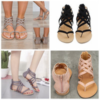 9c7a08f31ac Women Flat Heel Clip Toe sandals Hollow Out Roman Ankle Sandals fashion  lady shoes Chunky Heels Beach casual Shoes FFA576