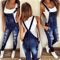 Wholesale Stripe Pocket Jeans - New Womens Bodycon Jumpsuit Jeans Denim Rompers Bib Overalls Trousers Pants MDN