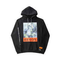 Wholesale fashion hoodie women - Crane Print Sweatshirts Men Women Hip Hop Heron Preston Hoodies Pullovers Streetwear Black Heron Preston Sweatshirts 2018