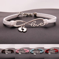 Wholesale infinity heart pendant - AFSHOR Fashion Personality Foot Gifts Antique Silver Children's Feet Charm Pendant Leather Infinity Love Bracelets Unique Women Jewelry