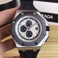 relógios de esporte venda por atacado-Luxo Royal Offshore 26401RO Ouro Preto Aços Inoxidável Automático Mecânico Pulseira De Borracha Esporte Homens Mens Watch Relógios