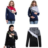 Wholesale pregnancy clothing for sale - Group buy Mom Nursing Sweaters Baby Feeding Shirt Tees Splicing Breast feed Tops Pregnancy Clothes Maternity Women Hooded Pullovers C5345