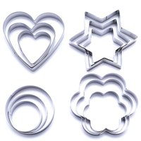 Wholesale Star Shaped Cookies Cutter - New 12PCS Stainless Star Heart Flower Cookie Cutter Shape Cake Biscuit Fruit Mold