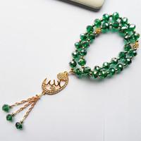yeşil malakit kolye toptan satış-Malakit yeşil kristal Müslüman kolye aksesuarları tesbih tesbih bilezik takı, streç Müslüman strand bilezikler hediye