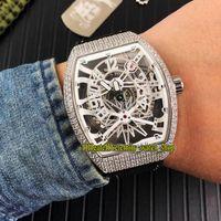 ingrosso orologi da yachting-Nuovo VANGUARD YACHTING GRAVITY V45 T GR YACHT SQT quadrante bianco scheletro orologio automatico da uomo cassa argentata cinturino in gomma orologi sportivi