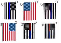 садоводство оптовых-Флаг США сад 30 * 45 см Синяя линия красная линия флаги полиции США 12 * 18 дюймов Тонкая синяя красная линия флаг США черный белый синий американский флаг