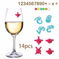 ingrosso set di bicchieri da bere-Personality Numbers Wine Glasses Marker Bere Tag Set Cup Recognizer 14 pezzi / set Bottiglia di silicone Drink Label per decori di partito