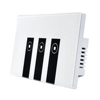 placas de interruptores de iluminação venda por atacado-Interruptor leve esperto de FUNN-WiFi Alexa, painel do interruptor da luz da placa de parede do toque de 3 grupos