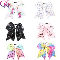 Wholesale Girls Hair Clip Holder - Princess Unicorn Cheer Bow With Ponyrtail Holder Ribbon Hair Bow With Clip Fabric Cheerleading Bows Girl Hair Accessories