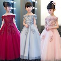 Wholesale kids flora dress - 2018 Pink Flower Girl Dresses Princess Communion Stage Costume Dress Off Shoulder Flora Appliqued Kids Formal Gowns MC1736