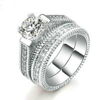 ingrosso od ring-gioielli di lusso set di anelli di nozze per wemen colore argento 2 giri Bijoux Fashion free od shipping
