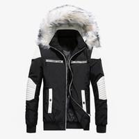 yastıklı rüzgarlık toptan satış-Marka Yeni Kış Ceket Erkekler Rahat Kürk Yaka Kalın Sıcak Parka Mont Pamuk-Yastıklı Rüzgarlık Dış Giyim Ceketler Erkekler Parkas Hombre
