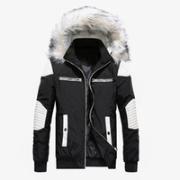 меховые манжеты для мужчин оптовых- New Winter Jacket Men Casual Fur Collar Thick Warm Parka Coats Cotton-Padded Windbreaker Outwear Jackets Men Parkas Hombre