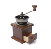 Wholesale coffee grinder free shipping - Free shipping Classical Wooden Manual Coffee Grinder Stainless Steel Retro Coffee Spice Mini Burr Mill With High-quality Ceramic Millstone