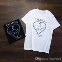 Wholesale paris art - 17FW Luxury Europe Paris High Collaboration Coco Love Heart Graffiti Art Tshirt Fashion Men Women T Shirt Casual Cotton Tee Top