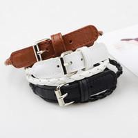 кожаные наручные часы оптовых-Handmade Waved Bracelet Watch Band for Women Men Leather Bracelet Punk Style 2017 New Arrival bileklik