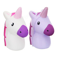 Wholesale Funny Christmas Decor - Kawaii Unicorn Head Squishy Doll Phone Strap DIY Decor Antistress Rising Slow Squeeze Toys Kids Christmas Gift Funny Toy