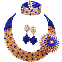 ingrosso cristalli di seta reale blu della collana-Fashion Royal Blue Champagne Gold Costume Collana Statement Nigerian Wedding Beads Africani Set di gioielli in cristallo 5L-ZJ029