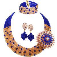 ingrosso collana blu costume-Fashion Royal Blue Champagne Gold Costume Collana Statement Nigerian Wedding Beads Africani Set di gioielli in cristallo 5L-ZJ029