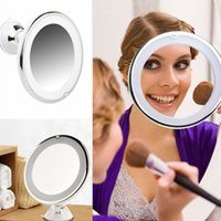 Wholesale bathroom led vanity lights - 7x Magnifying Lighted Makeup Mirror Warm LED Tap Light Bathroom Vanity 360 Degree Rotating Cosmetic Makeup Compact Mirror AAA457