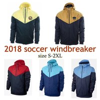 Wholesale America Jacket - 2018 Club America UNAM soccer Windbreaker jacket with hat hoodies tracksuit Thin coat football Training suit size S-2XL